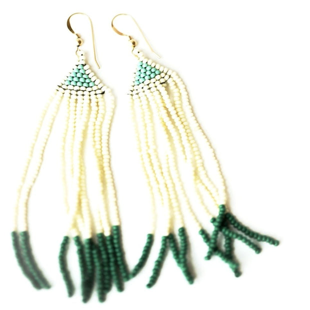 Hand-woven glass seed bead earrings green and cream made by artisans from Haiti provided through educational programs with fair wages and self-independence resulting in generational change