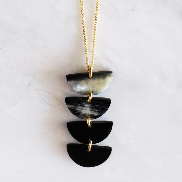 Crescent Buffalo Horn Pendent Necklace