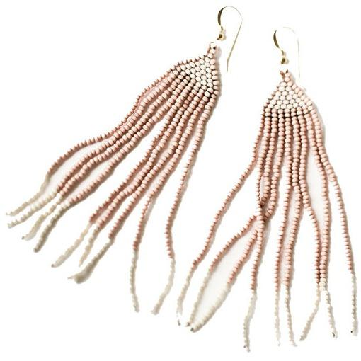 Hand-woven glass seed bead earrings blush and cream made by artisans from Haiti provided through educational programs with fair wages and self-independence resulting in generational change