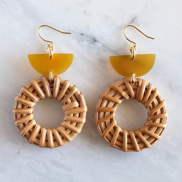 Horn and Rattan Donut Dangle Earring