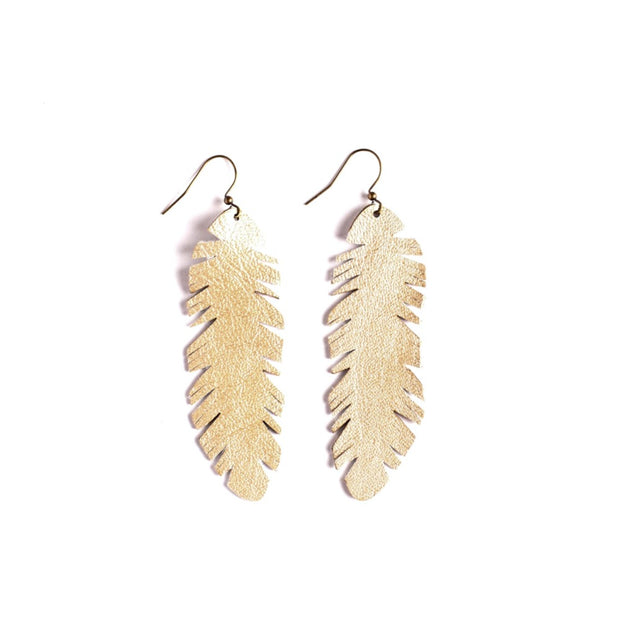 Lil' Leather Feather Earring