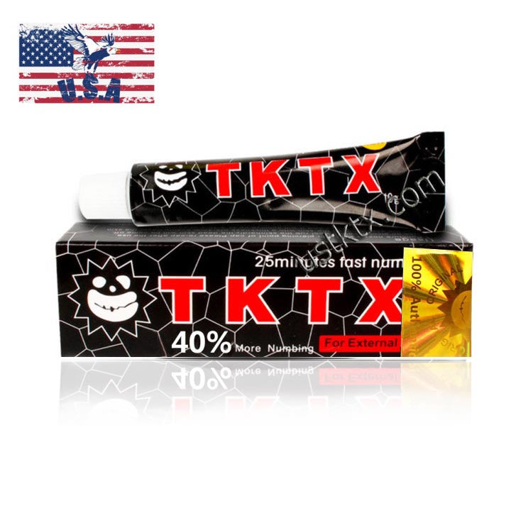 US Shipping Black 40% TKTX Numbing Tattoo Body Anesthetic Fast Numb Cream Semi Permanent Skin Body 10g