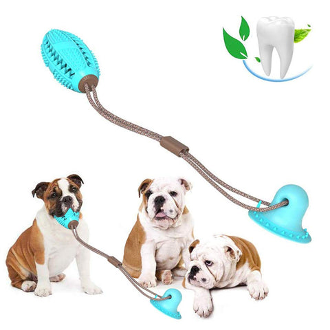 Dog Bite Toy with Suction Cup Doggy Pull Ball Multifunction Pet Molar Bite Toy Durable Dog Tug Rope Ball Toy  Tugging