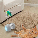 Electronic Pet Cat Toy Smart Automatic  LED Wheel Rechargeable Flash Rolling Colorful Light Cat Stick Sensing Obstacles