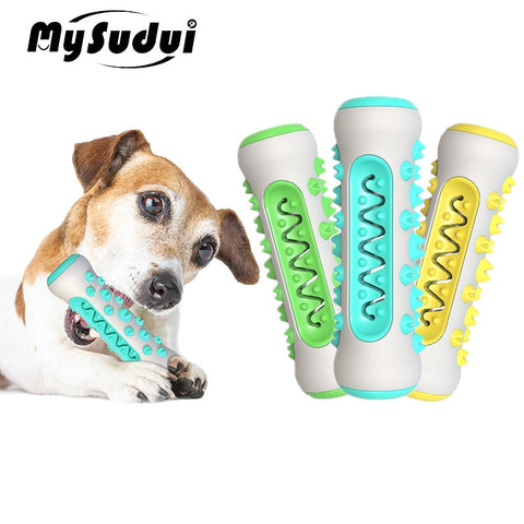 MySudui Multifunction Pet Dog Molar Bite Toy Tooth Cleaner Bone Dog Chew Cleaning Toothbrush Toys Bite Resistant Treat Dispenser