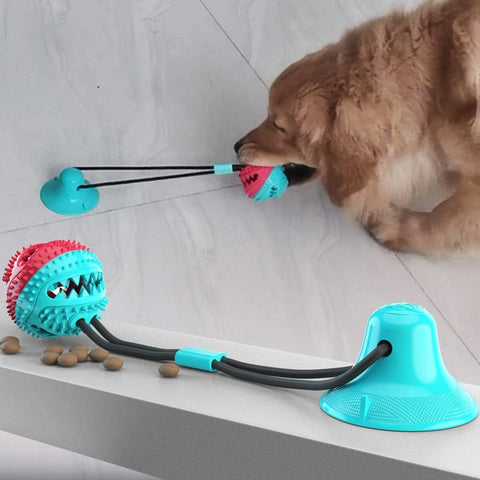 Pet Molar Bite Dog Toys Multifunction Rubber Pet Chew Toys Ball Puppy Suction Cup Pull Ball for Dogs Cleaning Teeth
