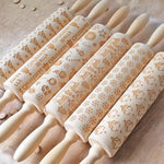 2020 Christmas Rolling Pin Laser Wooden Christmas Embossing Rolling Pin Dough Stick Baking Pastry Tool Home Christmas Decoration
