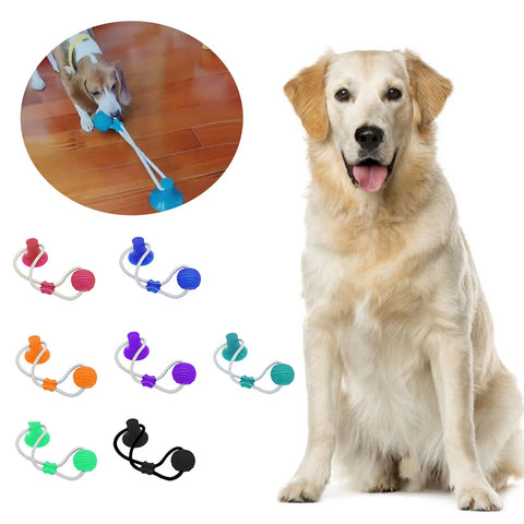 Multifunction Pet Molar Bite Dog Toys Rubber Chew Ball Cleaning Teeth Safe Elasticity Portable Soft Puppy Suction Cup Biting Toy