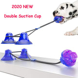 Dog Molar Bite Toy Multifunction Pet Chew Toys Upgraded Double Suction Cup Dog Pull Ball for Dogs Cleaning Tooth Food Dispenser