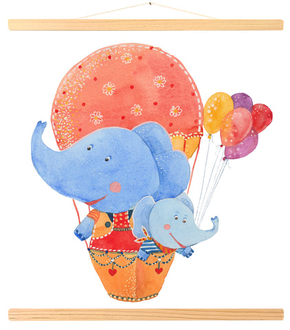 Two elephants in a hot air balloon (443)