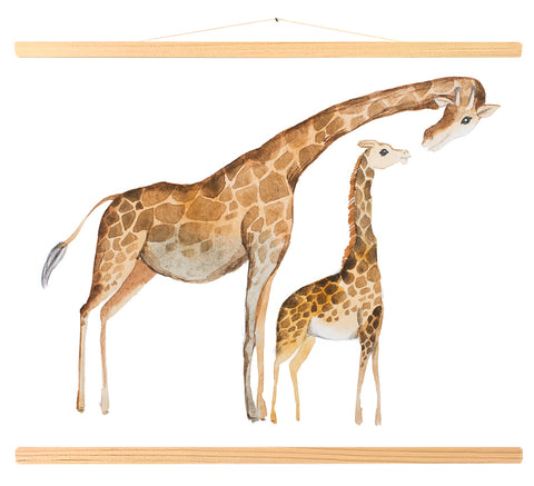 Giraffe mother and baby - watercolor (446)