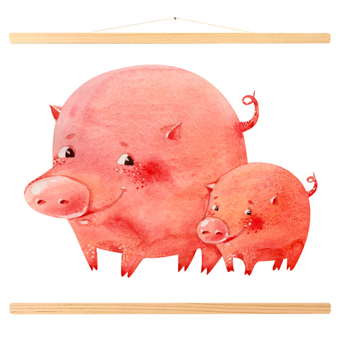 Two smiling pink piglets (451)