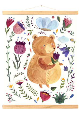 Teddy bear and Flowers (458)