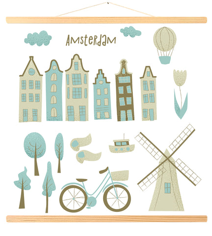Amsterdam with houses, windmill, tulip and hot air balloon (480)