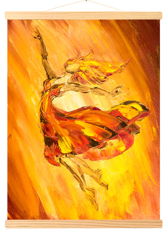 Ballerina in a fire, Oil painting on canvas (492)