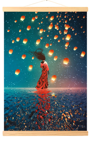 Woman in a dress, lanterns floating in a night sky (514)