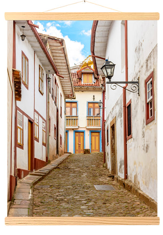 Facade of old houses, colonial architecture, Ouro Preto, Brazil (549)