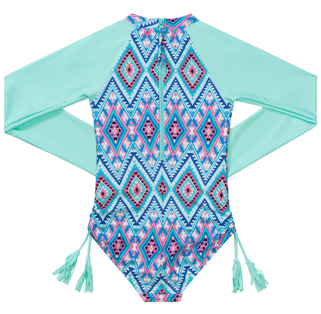 Seafolly Aztec Folk L/S Surf Tank - Emerald Blue
