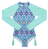 Seafolly Aztec Folk L/S Surf Tank - Emerald Blue (Size 8-14)