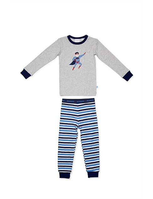 Marquise Superhero PJ's - Grey/Stripe