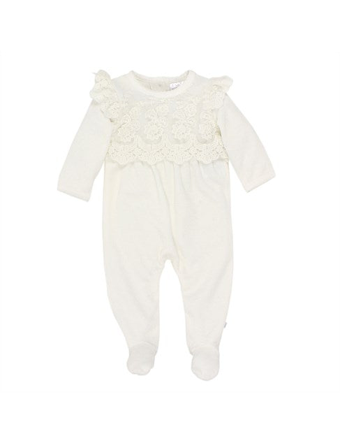 Bebe Girls L/S Lace Romper with Feet in Ivory