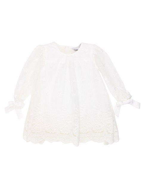 Bebe Girls Pleated Lace Dress in Ivory