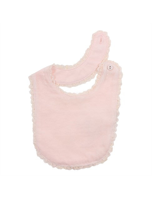 Bebe Pink Velour Bib with Lace