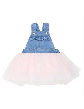 Fox & Finch Confetti Overall Tutu Dress in Denim/Pink
