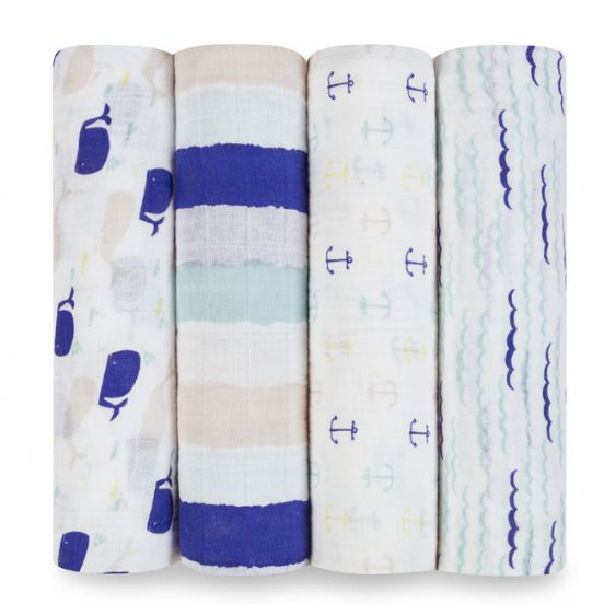 Aden & Anais 4-Pack Classic Swaddles - High Sea