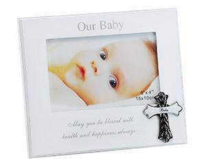 "Stylesetter 'Baby' Frame with Metal Cross 6 x 4"" - Sweet Thing Baby & Childrens Wear"
