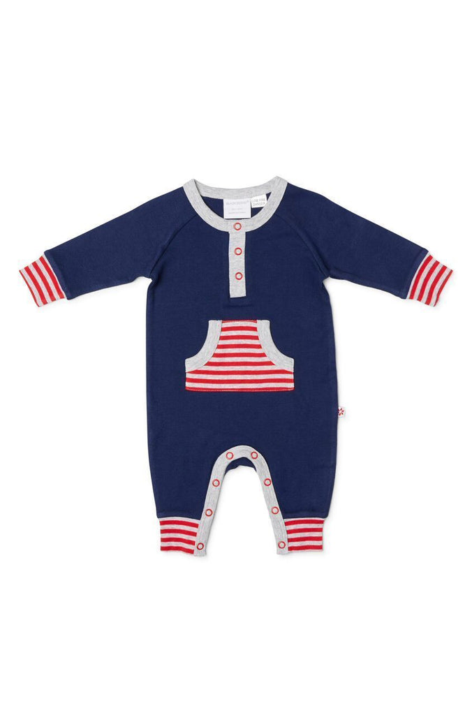 Marquise Navy/Red Footless studsuit