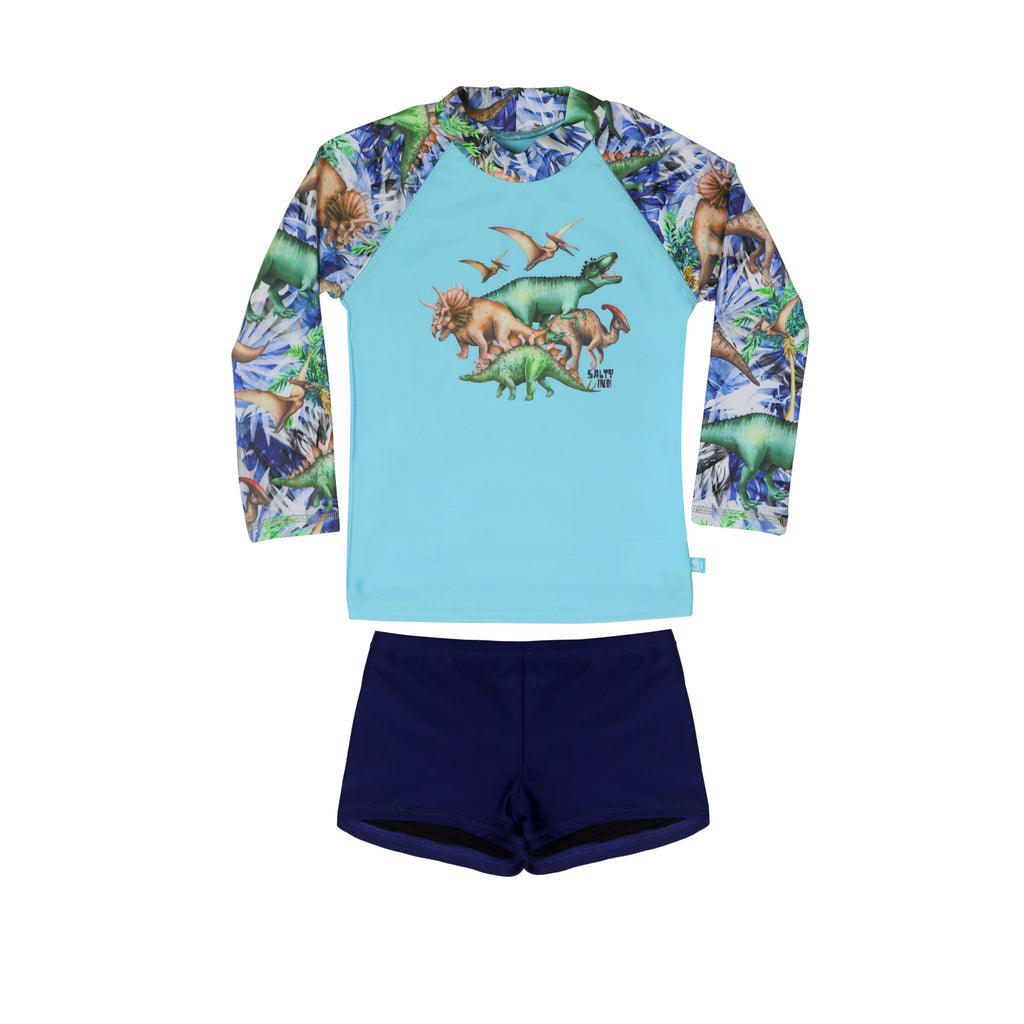 Salty Ink Dino Safari Long Sleeve Rashvest Set