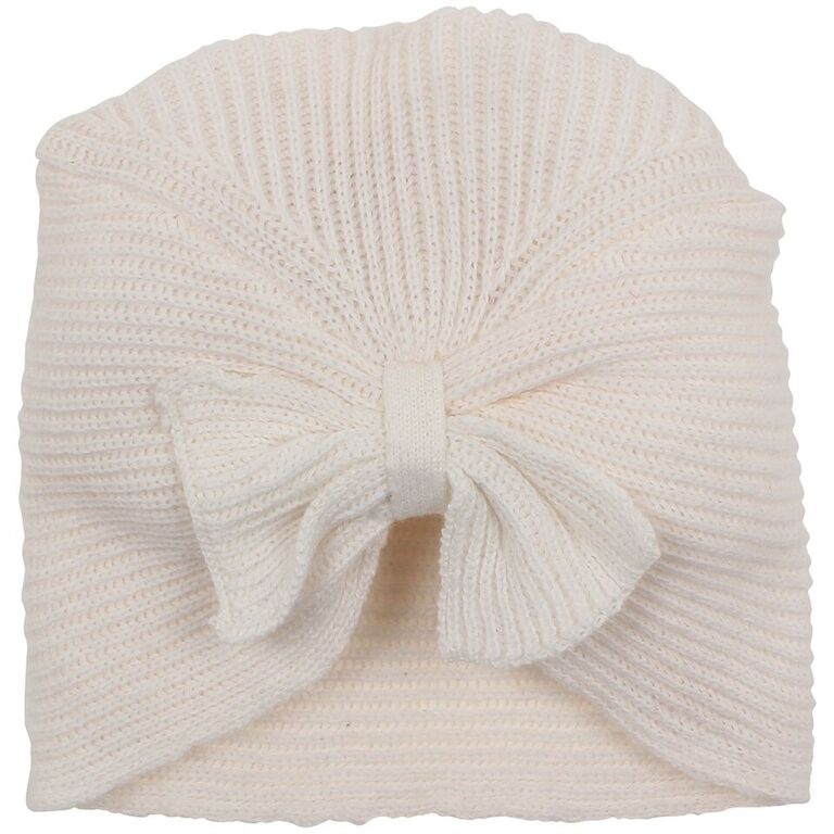 Bebe Cable Bow Knit Beanie - Cloud