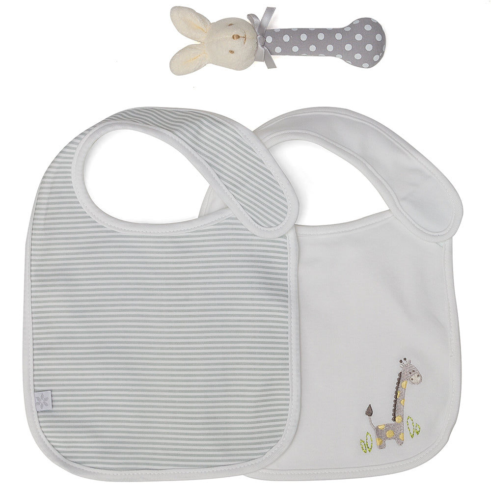 Marquise 2 Pack Bib & Bunny Toy in Grey