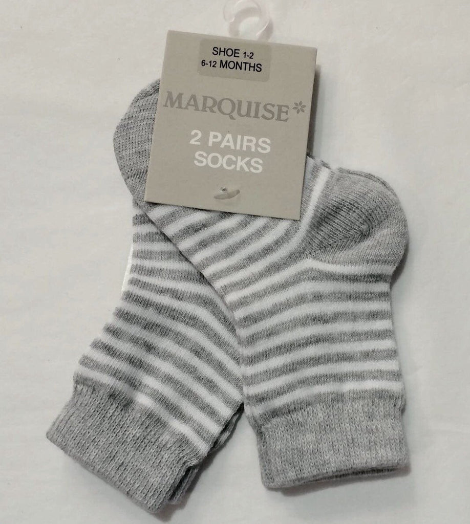 Marquise 2 Pack Grey Stripy Cotton Socks - Sweet Thing Baby & Childrens Wear