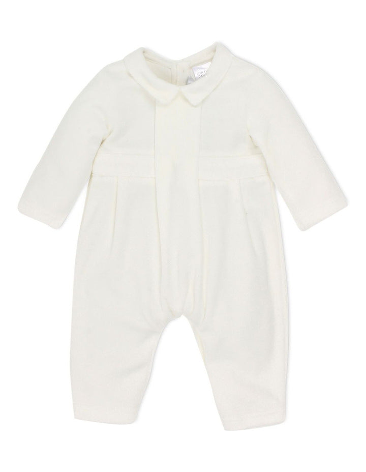 Bebe Boys Velour L/S Romper in Ivory