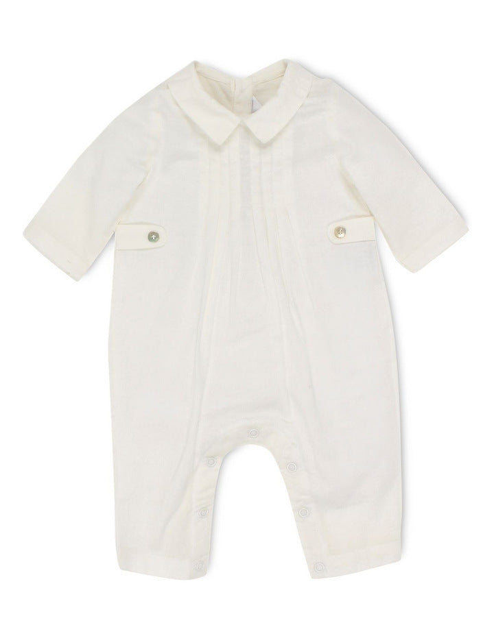 Bebe Boys L/S Woven Romper with Tuck - Ivory (Size NB-12M)