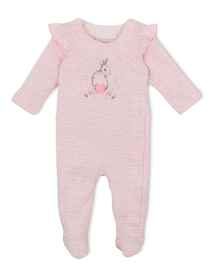 Fox & Finch Hop Bunny Print Romper in Pink Marle