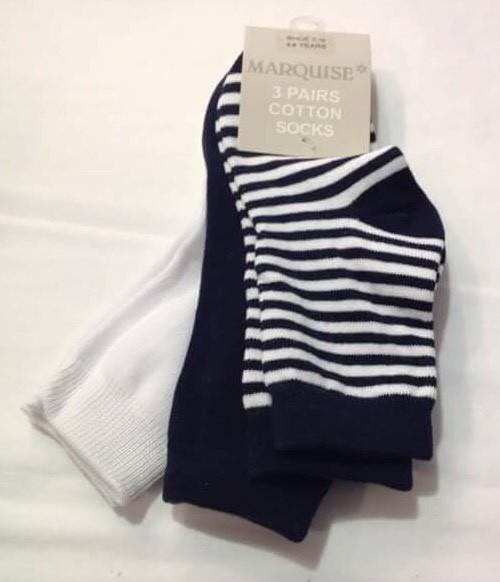 Marquise 3pk Knitted Socks- Navy/Stripe/White - Sweet Thing Baby & Childrens Wear