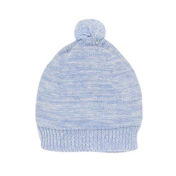 Bebe David Knit Beanie with Pom Pom in Denim Marl