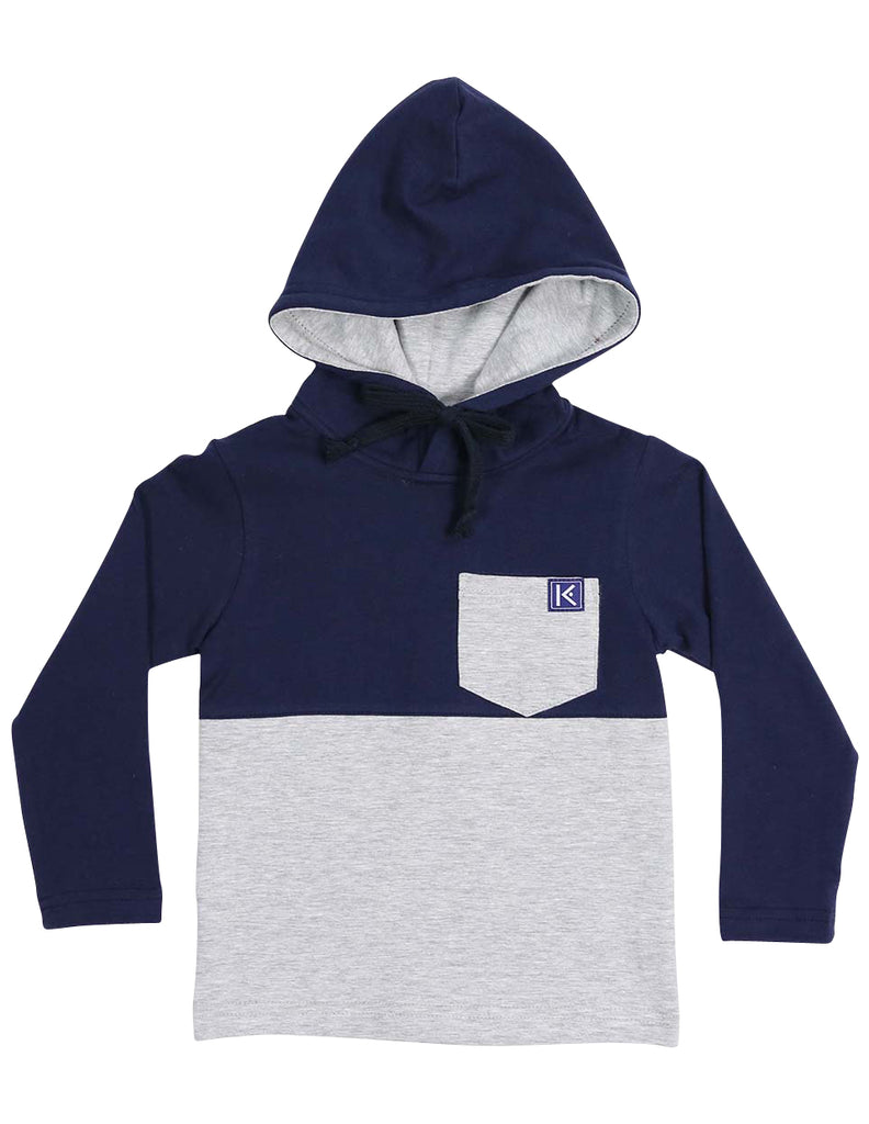 Korango City Long Sleeve Hooded Pocket Tee - Navy/Grey