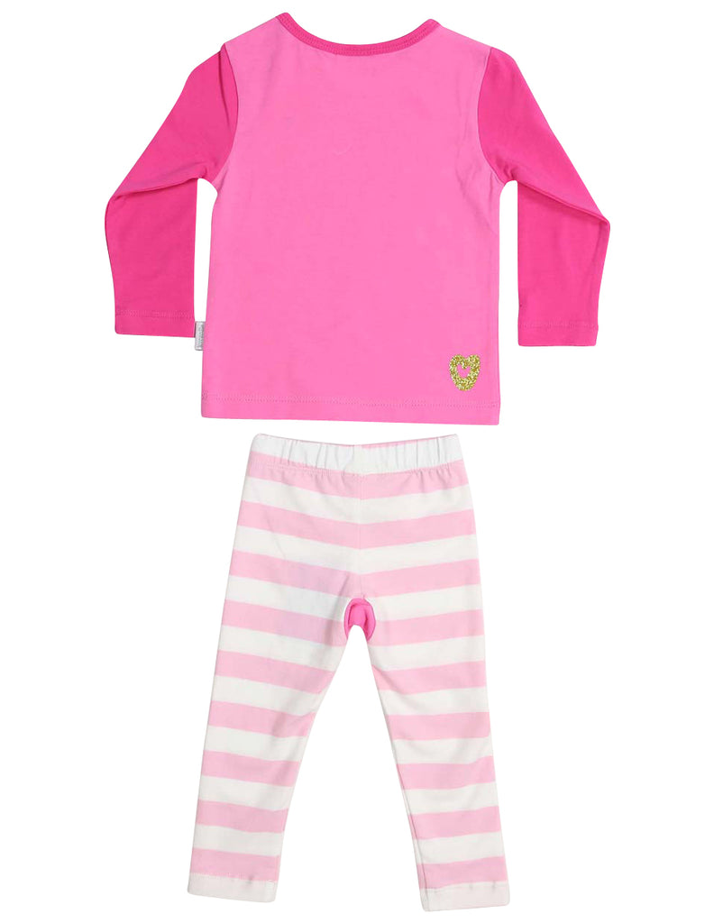 Korango Sleepwear Cotton Pyjamas Long Sleeve Tee and Pant Unicorn - Pink/White