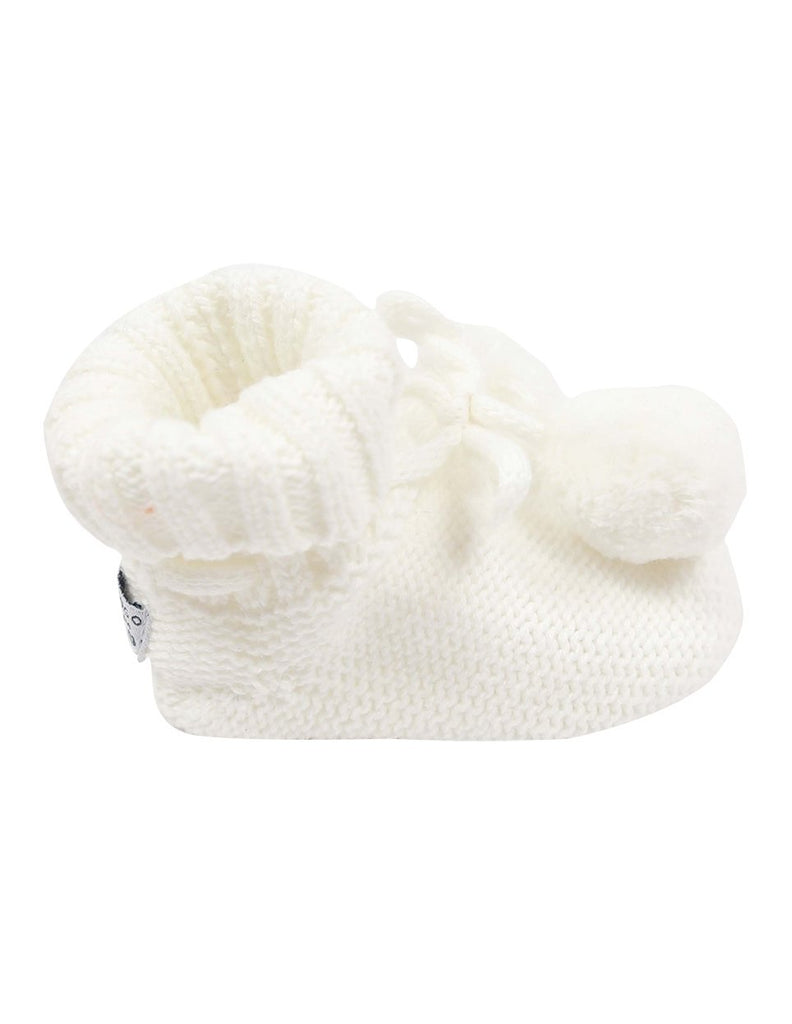 Korango Knitted Pom Pom Booties 0-3M - White