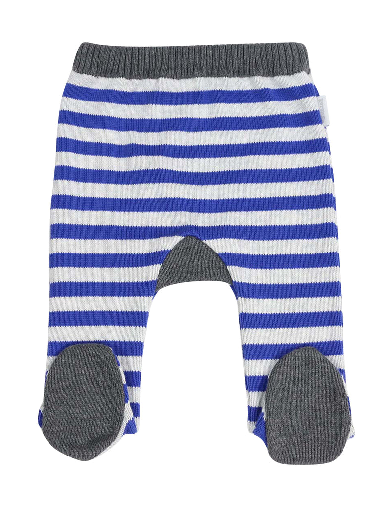Korango Little Tiger Stripe Knit Legging - Blue/Grey Marle