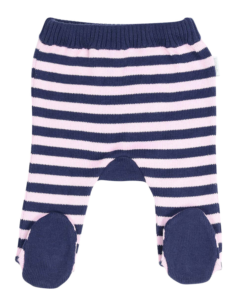 Korango Swan Princess Stripe Knit Legging - Grey Marle/Pink