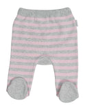 Korango Baa Baa White Sheep Stripe Knit Legging - Pink/Grey Stripe