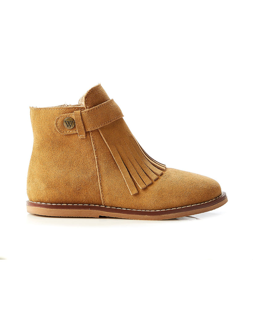 Walnut Becky Suede Fringe Boot - Tan
