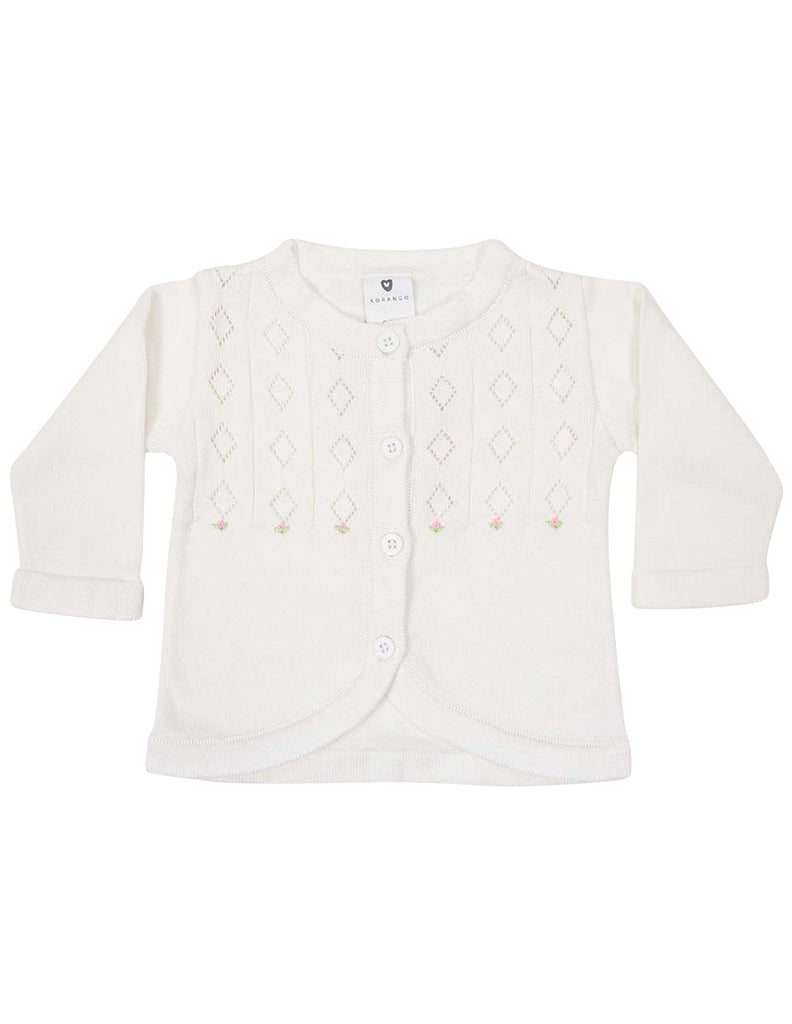 Korango Timeless Hand Embroidered Knit Cardigan - Ivory