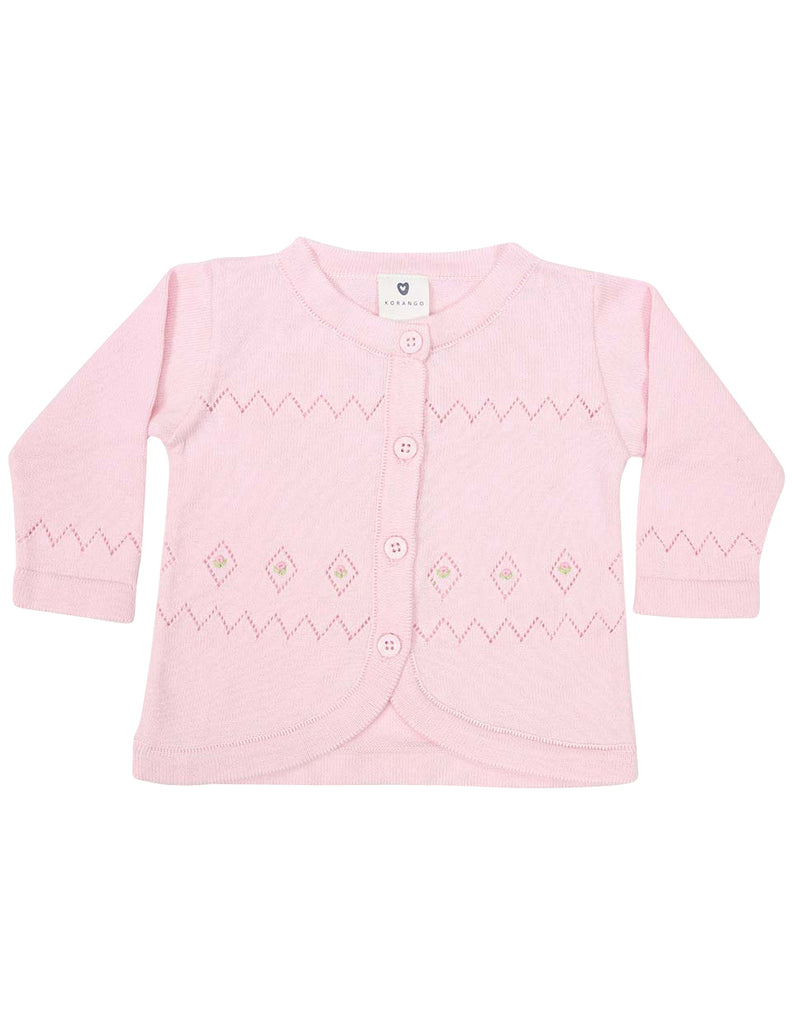 Korango Timeless Hand Embroidered Knit Cardigan - Pink