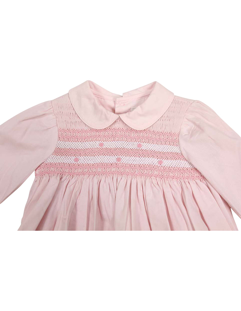 Korango Timeless Hand Smocked/Embroidered Cotton Twill Dress - Pink